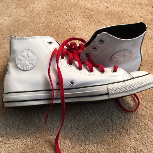 Men's converse  - white patent leather high top